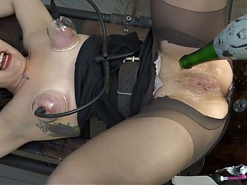 Champagne bottle in pussy and breast pump