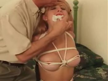 Cute Slim Blondie Bound & Gagged In Bed
