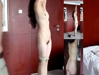 Asian girl suspended whipping 03