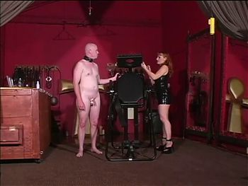 Slave dude trying to please his big tits mistress
